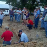 Farmers gathered around as NRCS staff discussed soils typical of Rockingham county cropland.